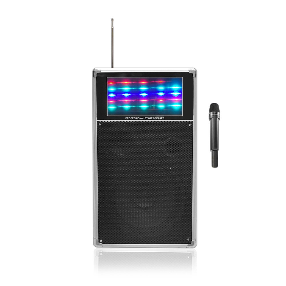 Pyle PWMA850UFM 400-watt Speaker System with USB/SD Readers, FM Radio, AUxand Mic Inputs, Wireless Mic and Flashing Lights Sound Around