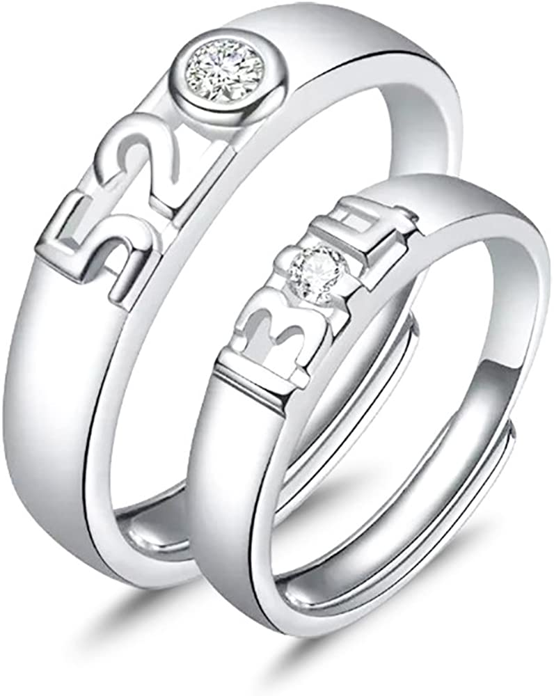 Lovers Jewelry 925 Sterling Silver Heart Love You Forever CZ Crystal Couple Ring