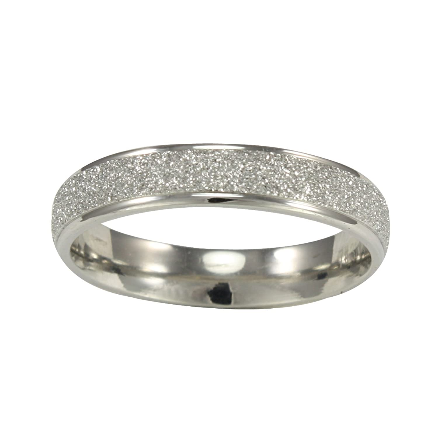 stainless steel sparkle 3 8mm band ring women