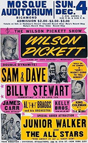 Wilson Pickett - Sam & Dave - Mosque Auditorium - 1966 - Concert Poster Classic Jazz Concert Poster