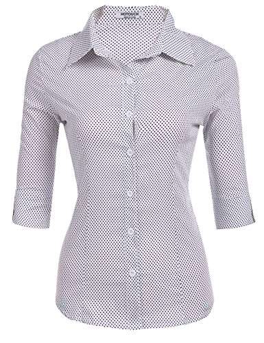 Hotouch Lady Basic Roll Up 3/4 Sleeve Simple Button-Down Shirt (White Polka Dot ()