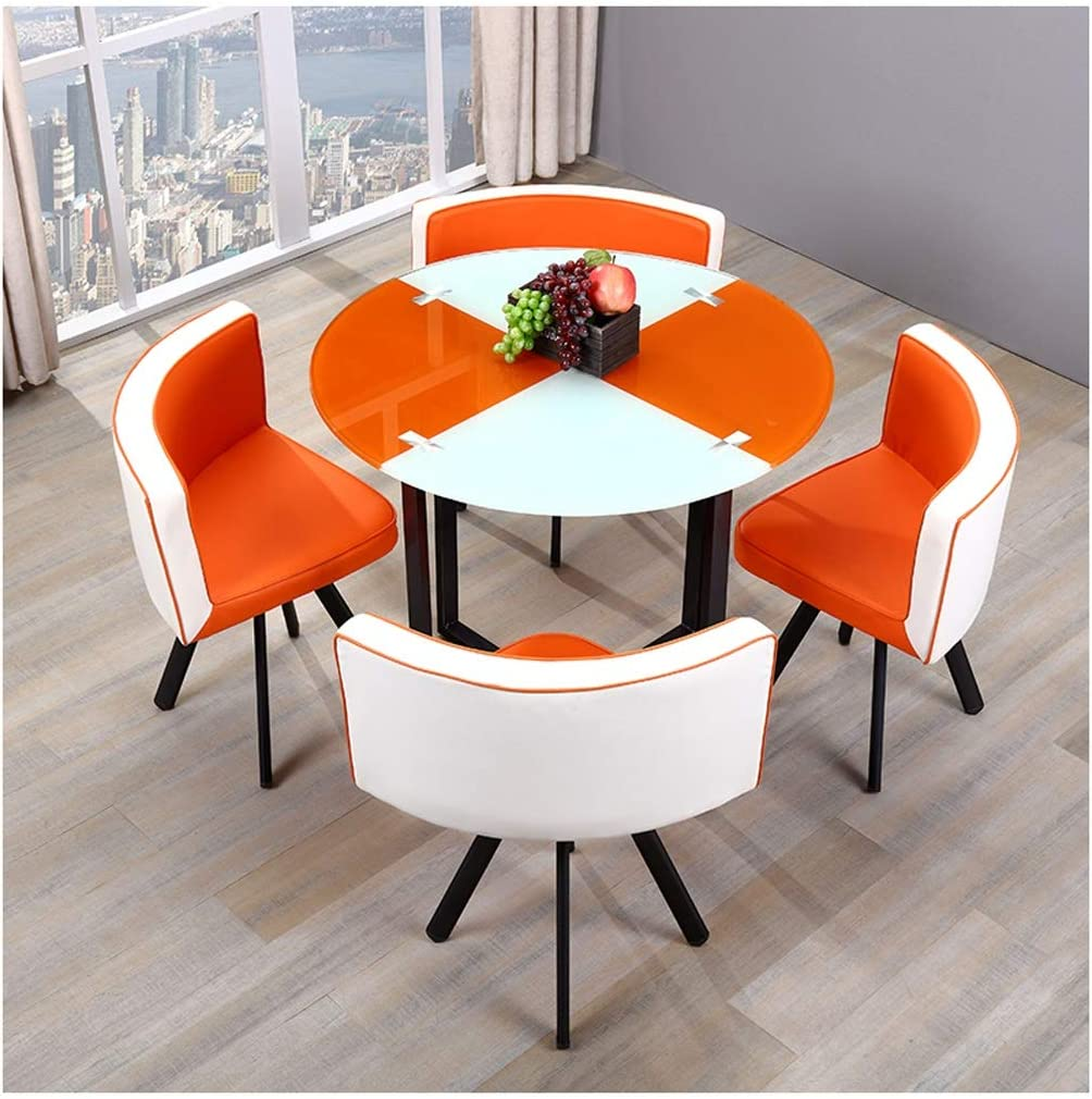 Amazon Com Negotiating Table And Chair Combination Glass Dining Table Round Table Small Square Table 90cm In Diameter Cafe Tea Shop 1 Table 4 Chairs Reception Room Hotel Reception Area Lounge Casual And Simple
