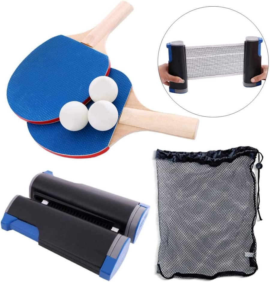 Milky Way - Juego de tenis de mesa retráctiles y postes de tenis de mesa, ajustable en cualquier lugar, 2 palas de pong, 3 estrellas blancas, 1 bolsa de transporte