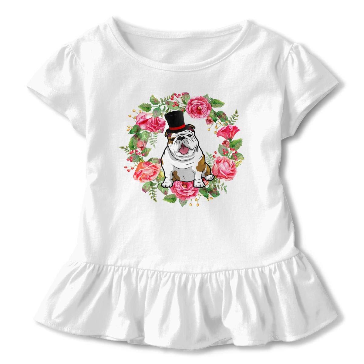 Cheng Jian Bo Funny Bulldog Toddler Girls T Shirt Kids Cotton Short Sleeve Ruffle Tee