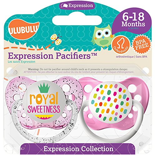 Ulubulu Pacifier, Royal Sweetness Girl, 6-18 Months (Pacifiers With Sayings)