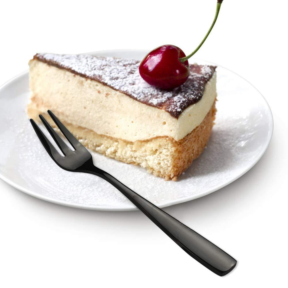 Schwarz Neadas Kleine Gabeln Teegabel f/ür Kuchen Dessert Tee Appetizer Edelstahl 12 St/ück