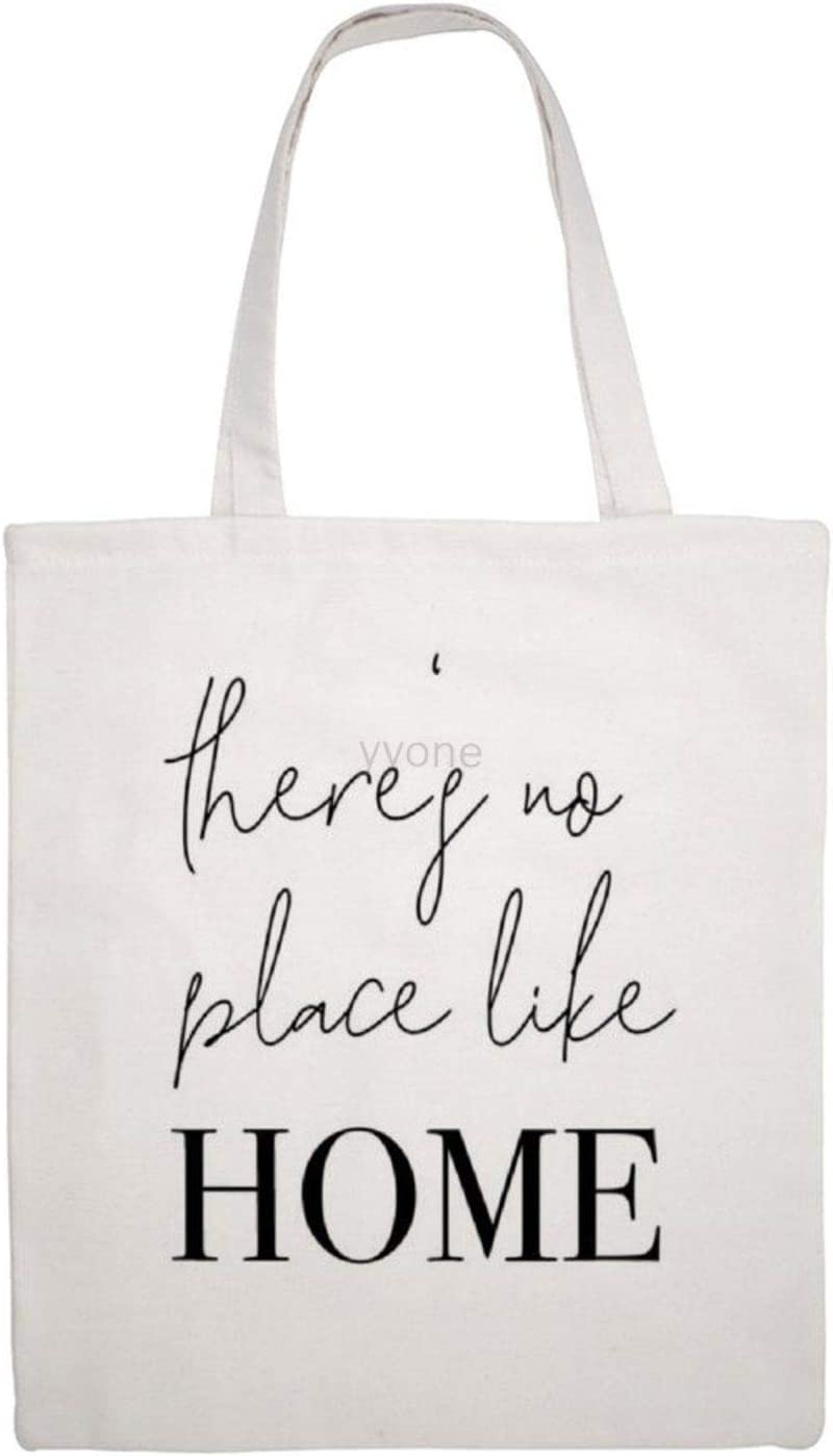 Cotton Canvas Bag Tote - There's No Place Like Home, Reusable Shopping Tote Bag Design Shoulder Bags