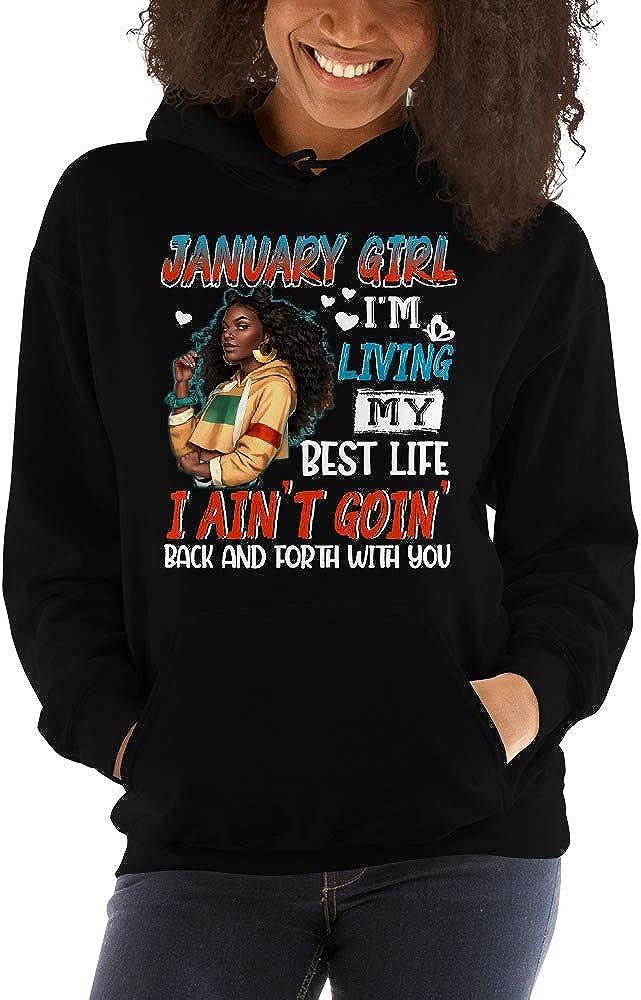 January Black Girl Living My Best Life Nature Hair Unisex Hoodie