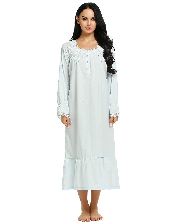 7498b1fd7 Ekouaer Womens Sleepwear Victorian Sleepshirts Long Sleep Wear Dress Cotton  Nightgown S-XXL at Amazon Women's Clothing store: