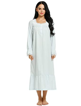 9c50b5b5a6f Ekouaer Nightwear Womens Soft Long-Sleeved Solid Sleep Shirt Plus Size  Nighty  Amazon.co.uk  Clothing