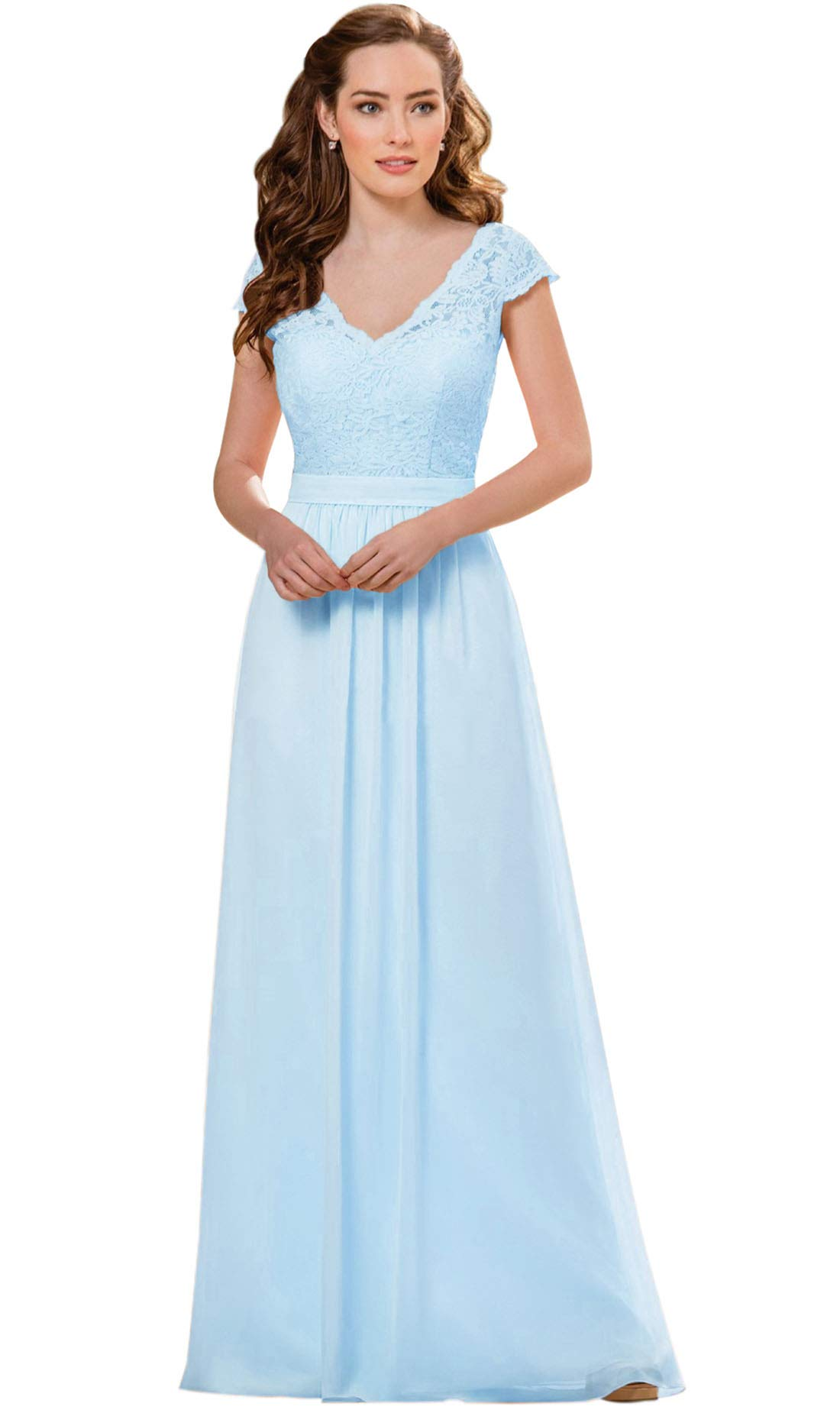 37e8735860c Zhongde Women s V-Neck Cap Sleeves Chiffon Party Gown Floor Length Lace  Bridesmaid Dress with Belt Bady Blue Size 4