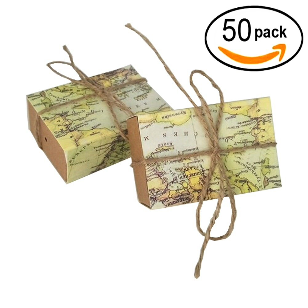 World Map Party Supplies.Lovely Aweson Party Vintage Kraft Paper Candy Box Around The World