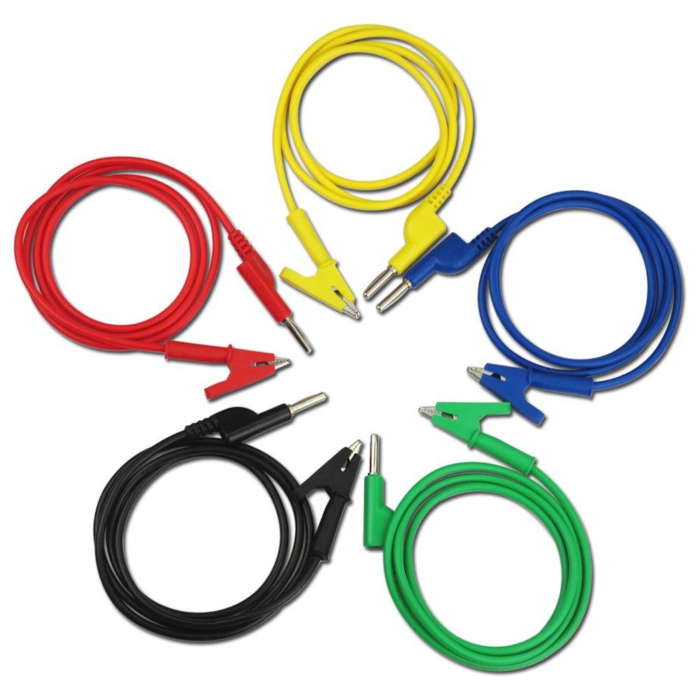 TKDMR 4mm 5PC Colorful Silastic Banana Plug (Cross-Bonding) to Crocodile Alligator Clip Test Probe Lead Wire Cable Multimeter Probe Test Lead 1M