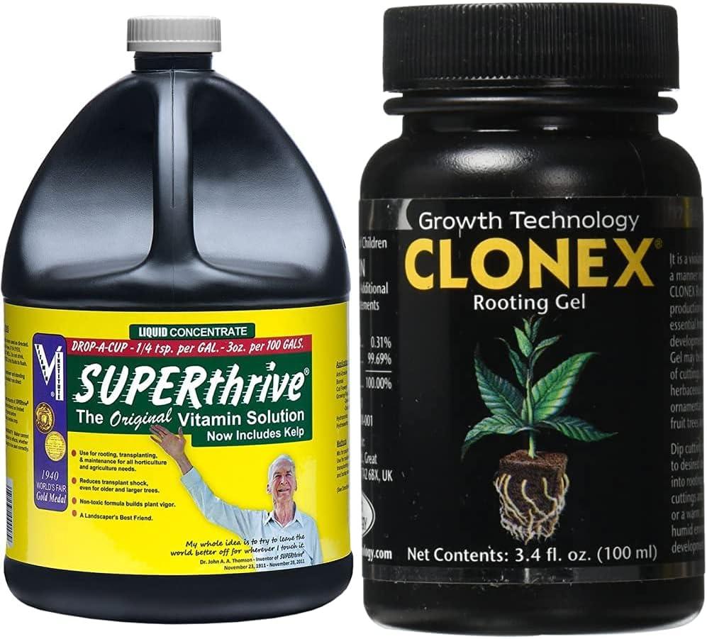 SUPERthrive VI30179 Plant Vitamin Solution, 1 Gallon, Clear & Hydrodynamics Clonex Rooting Gel, 100 ml