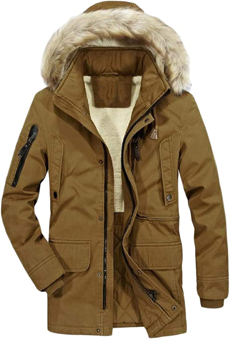 Yusky Mens Fur Collar Quilted Mid Long Hood Thicken Warm Puffer Coat