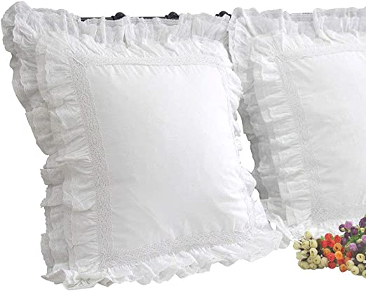 Neck Pillow Filled Country-Style White Lace Pillows Vintage Cushion Hull Cotton