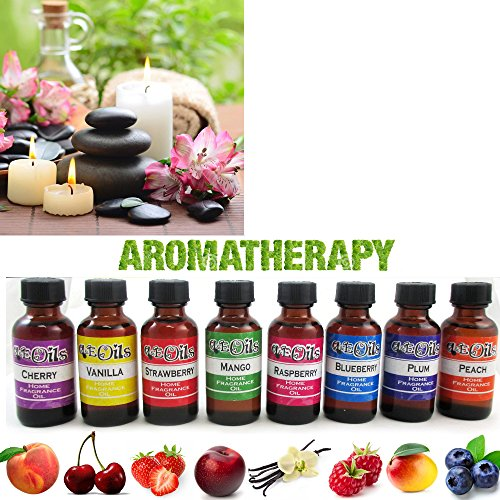 Fruit Scent - 8 Aroma Therapy Oils Set Fruit Scent Spa Home Fragrance Air Diffuser Burner 30ml