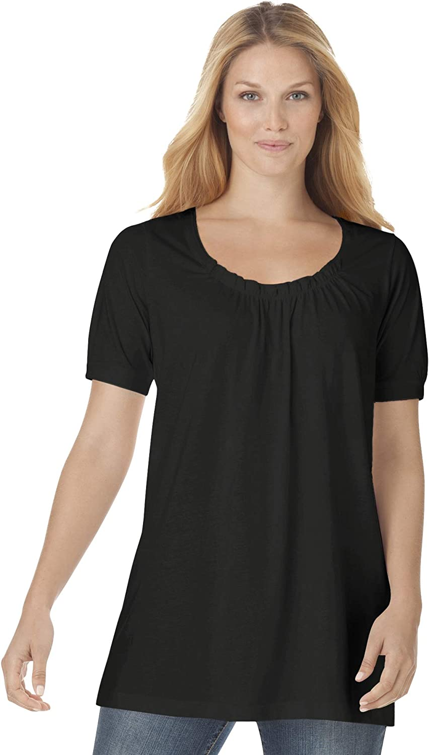 Woman Within Women's Plus Size Perfect Short-Sleeve Shirred U-Neck Tunic