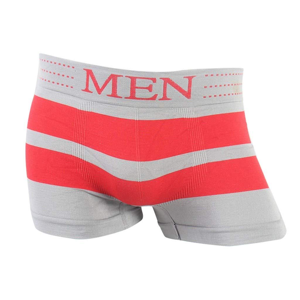 ANJUNIE Men's Underwear,Striped Patchwork Underwear Comfortable Breathable Underwear(1-Red,XXL)
