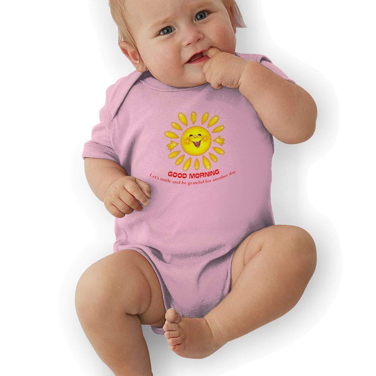 HappyLifea Good Morning Fun Newborn Baby Short Sleeve Romper Infant Summer Clothing