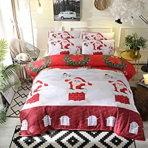 Arachnes Needle Christmas Duvet Cover Set, Santa Chimney Snowman Printed Bedding Set with Zipper Closure, Red Queen(1 Duvet Cover and 2 Pillowcases)