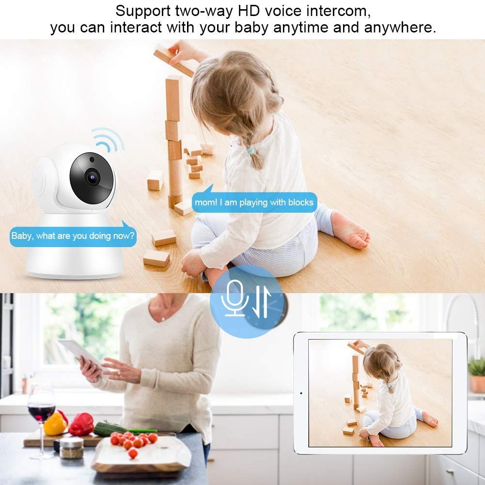 720P WiFi IP Babycam Video de visi/ón Nocturna C/ámara PTZ de intercomunicaci/ón de 2 v/ías para Seguridad en el hogar BTIHCEUOT Monitor de Cuidado del beb/é Enchufe de la UE