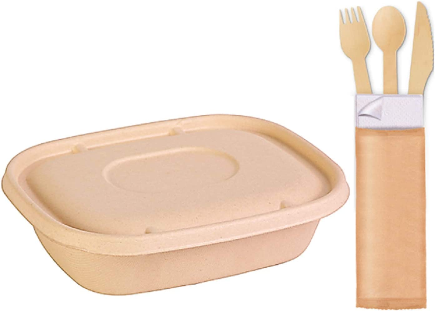 50 Pcs Takeout set | 25 Disposable sugarcane fibers containers with lid + 25 Wooden Cutlery packets individually packed.100% Compostable Wood paper and bagasse Eco Friendly Alternative to plastic