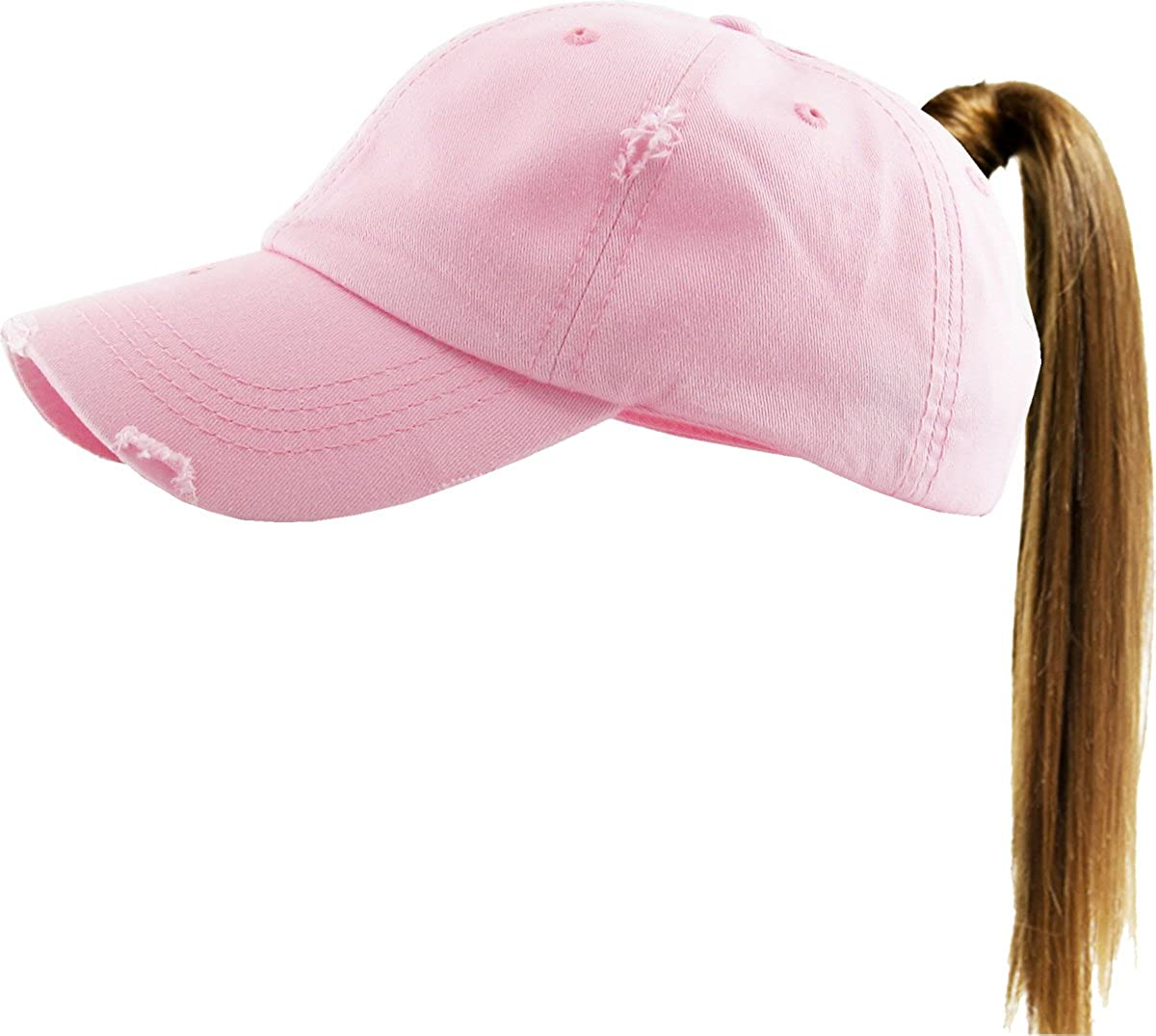 KBETHOS Ponytail Messy High Bun Adjustable Cotton and Mesh Trucker Baseball Cap B075QLR6H8 PONY-001 BLK