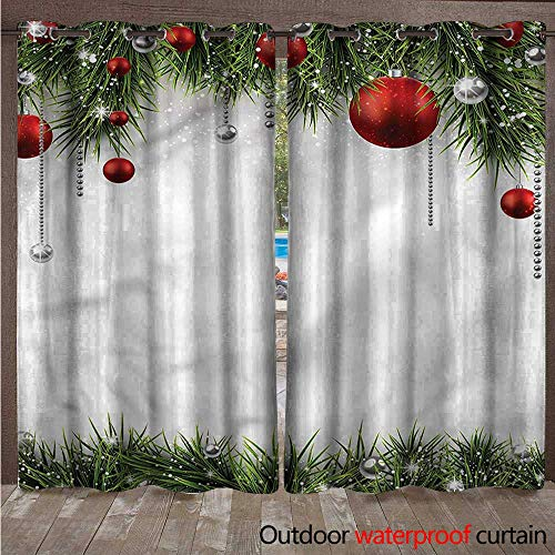 - cobeDecor Christmas 0utdoor Curtains for Patio Waterproof Tree Balls Ornaments W84 x L108(214cm x 274cm)