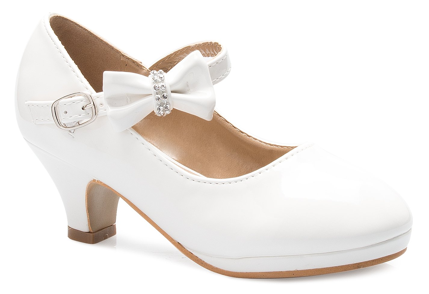 OLIVIA K Girls Bow Mary Jane Kitten Heel Pumps (Toddler/Little Girl)