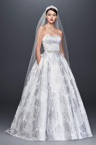 Floral Brocade Ball Gown Wedding Dress Style CWG789, Silver Grey ...