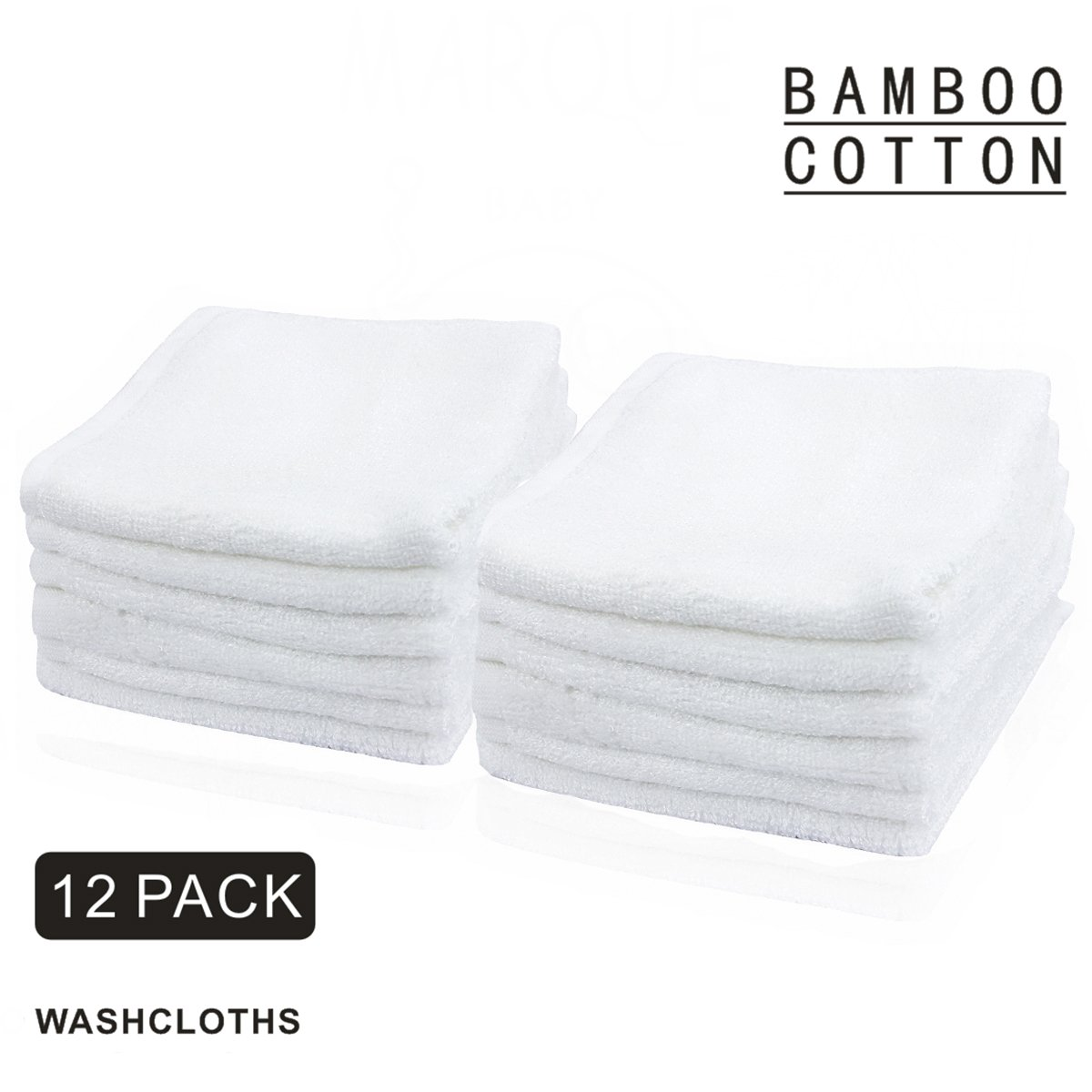 100% Organic Bamboo Cotton Baby Washcloths - 6pcs NO DYES Super Soft & Absorbent Bath Towels 10x10 Marque