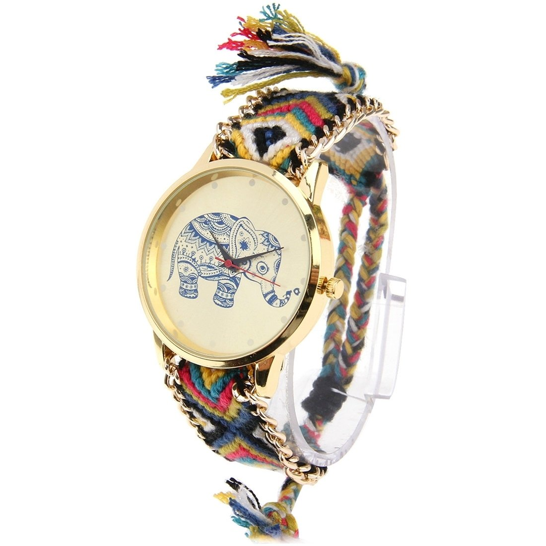 Round Dial Elephant Pattern Fashion Women Quartz Watch With Colorful Hand-woven Rope Band (SKU : S-WA-0622A)
