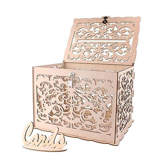 Caja de tarjetas de boda de madera, ANSUG Cajas de Regalo para Bodas Vintage con Cerradura Cajas de regalo de madera para bodas Duchas de bebé - 30 x ...