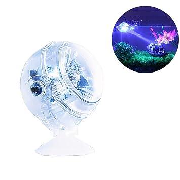 DJLOOKK LED Lámpara De Acuario Bombilla De Buceo Acuario Proyectores Luminosos A Prueba De Agua Luz del Acuario Burbuja Pecera Luz De Buceo Anfibia,Blue: ...