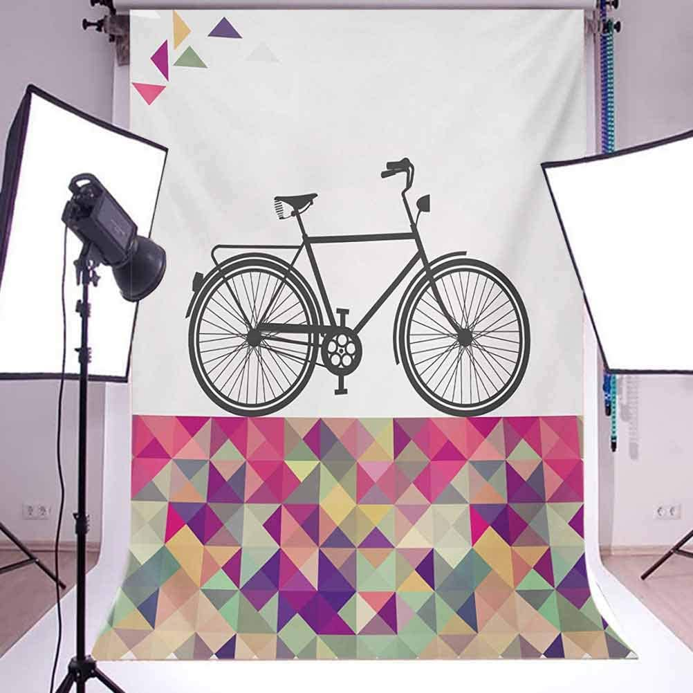 Geometric 10x15 FT Backdrop Photographers,Vintage Style Bike Over Multicolor Diamond Shaped Backdrop Triangles Hipster Background for Child Baby Shower Photo Vinyl Studio Prop Photobooth Photoshoot