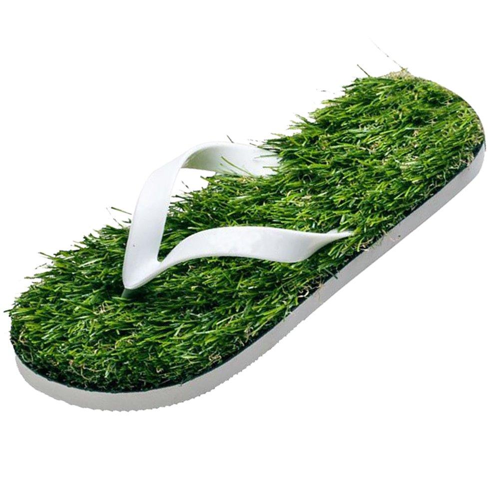 GAXmi Flip Flops Women Men Kids Summer Casual Artificial Lawn Grass Slippers White