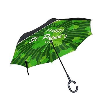 jstel doble capa puede día de San Patricio paraguas coches Reverse resistente al viento lluvia paraguas