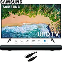 Samsung 58 NU7100 UHD 4K HDR LED Smart TV 2018 Model (UN58NU7100FXZA) with Sharper Image 37 Sound Bar Bluetooth Speaker & 6ft Optical Toslink 5.0mm OD Audio Cable