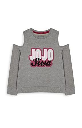 0758abcf63129 Primark JoJo Siwa Girl s Grey Cold Shoulder Jumper Top Girls By (7-8 ...