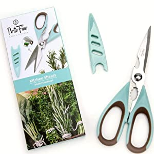 Portofino Multi-Functional Kitchen Shears - Utility Scissors with Blade Protector   Micro Serrated Stainless Steel Blade   Anti-Slip Grip   Food Prep Accessories   Bottle Opener, Crab & Nut Cracker