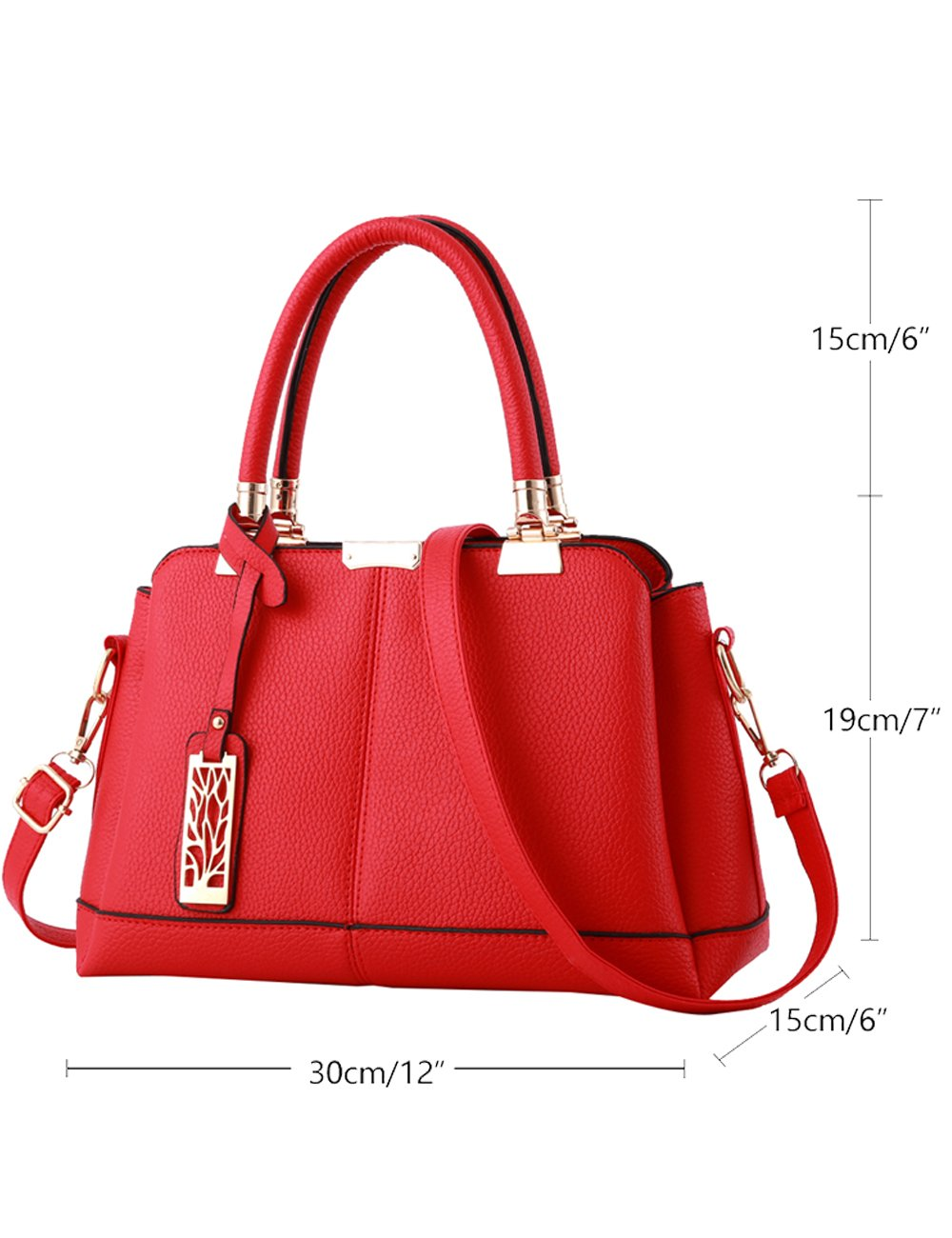 Womens PU Cross-body Hand Handle Bags Shoulder Bags Red by CUKKE (Image #2)