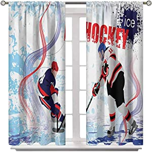 Room Darkening Curtain Hockey Window Drapes Curtain Two Ice Hockey Players in Cartoon Style on Grunge Abstract Skating Rink Backdrop for Home/Kitchen/Drawing Room 2 Rod Pocket Panels 42