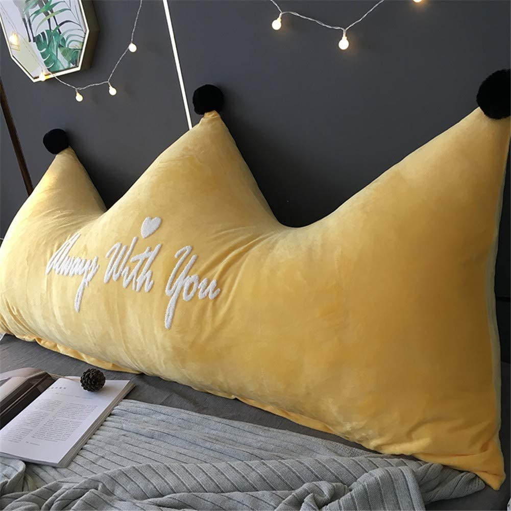 24x20inch ZZKD Creative Crown Large Backrest Pillow Plush Triangular Headboard Double Tatami Reading Bedside Back Cushion for Sofa Bed Bedroom Baby Cot EtcA-60x50
