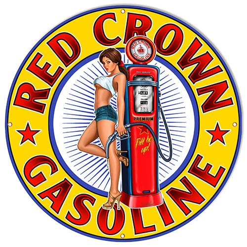 Aged Looking Red Crown Gasoline Pin Up Girl Motor Oil Sign Garage Art 30