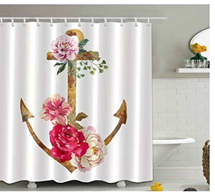 Amazon Wchuang Anchor Shower Curtain Flower Kids Baby Bathroom
