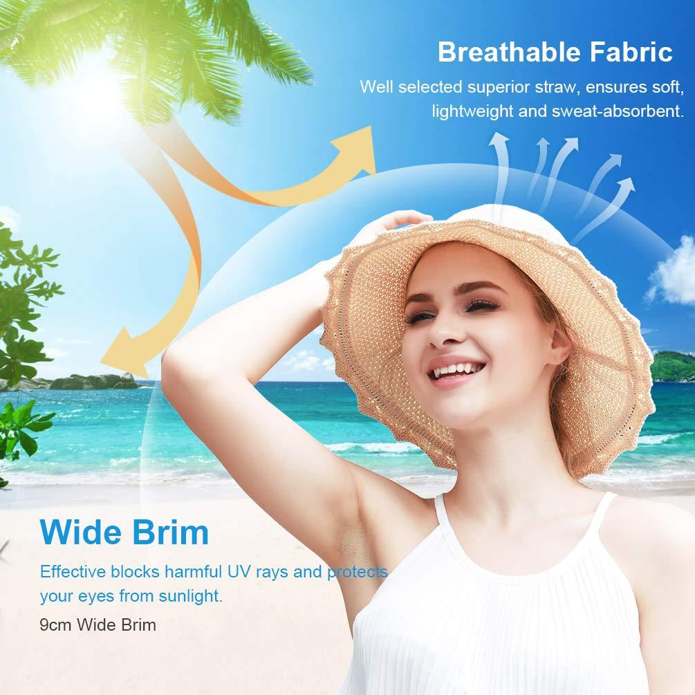 VBIGER Capeline de Paille Femme Chapeau de Soleil Pliable à Bord Large Fille Casquette Visière Anti-UV pour Plage Voyage Vacances