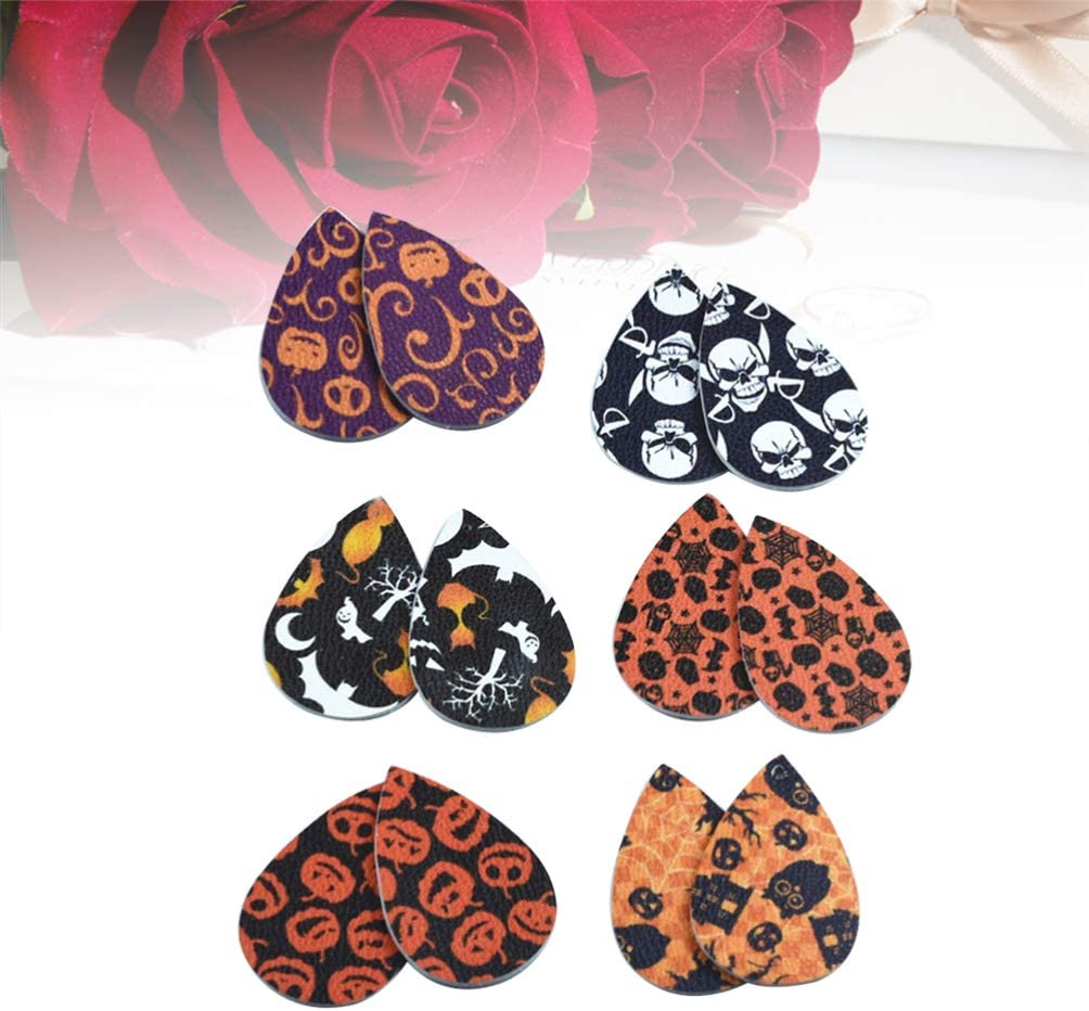 Halloween Earrings Pendants Artificial Leather Leaf Earring Halloween Eardrop Accessory for Party Festival 36 Pieces