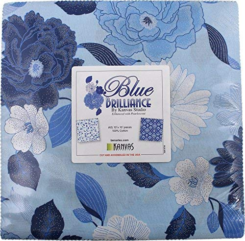 Blue Brilliance~Floral Layer Cake 42, 10'' Cotton Squares by Benartex by Benartex