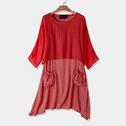 Auifor damska sukienka polka Dot nieregularny dekolt okrągły długi rękaw top dwie sztuki sukienka plus rozmiar: Odzież